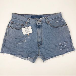 Levi's 505 Regular Fit Distressed Jean Shorts